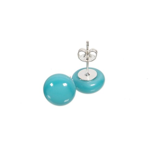 Handmade glass earrings in baby blue colour