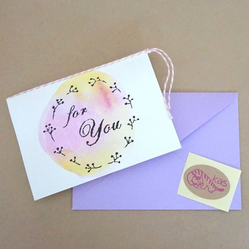 "Mimeograph print greeting card ""For You"" (texture)"