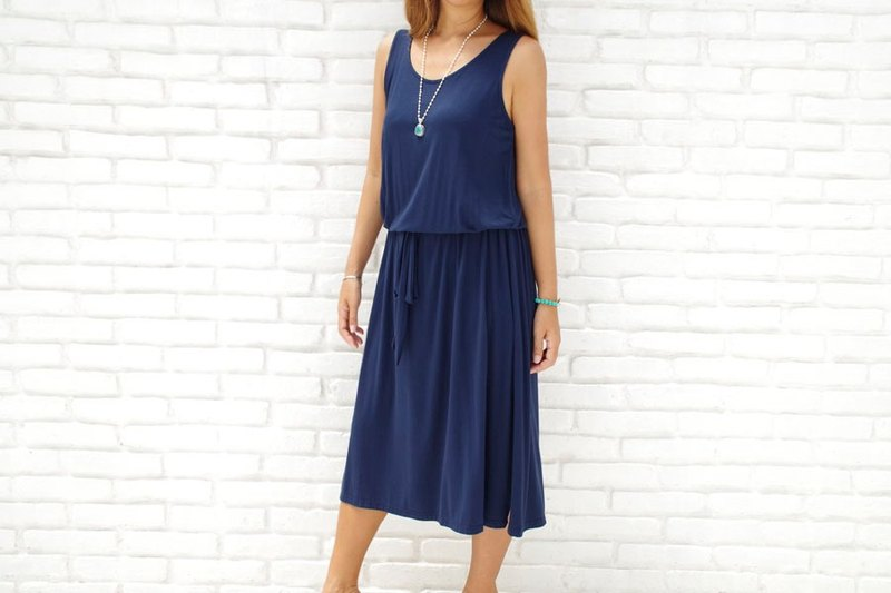 Adult's Sleeveless Browsing One Piece Dress <Navy>