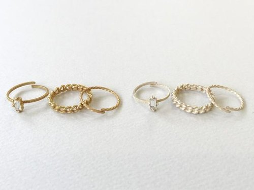 Cube Swarovski & chain hoop 3set ring