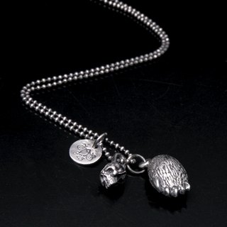 Double Bear&skull_pendant | 骷髅熊掌项链坠