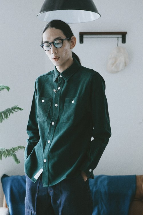 Rolling on - HOUSTON 厚磅衬衫 CHAMBRAY WORK SHIRT / Green