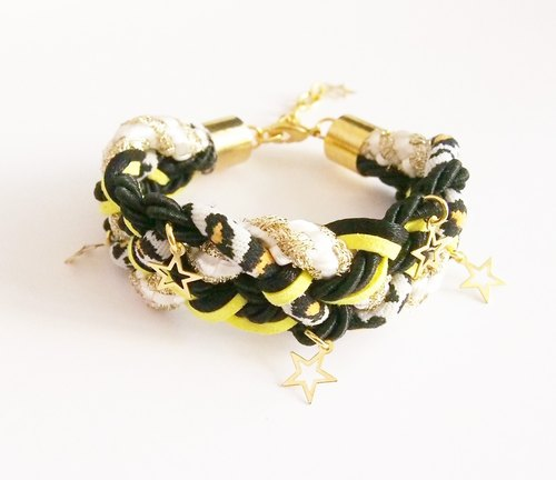Leopard braided bracelet with little stars
