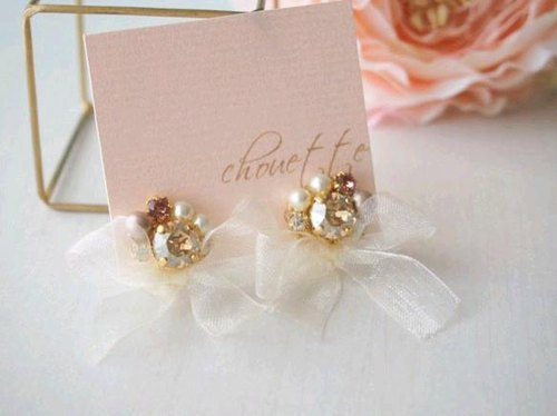 [14kgf] organdy ribbon Bijoux earrings / earrings