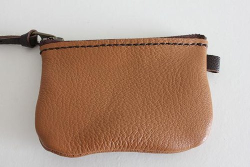 Hand-sewn pouch coin case / simple Brown