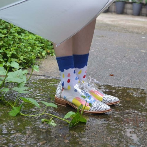 彩色雨点短袜 Colourful rain socks