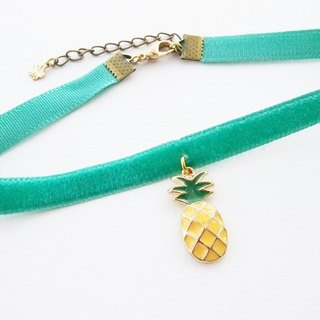 Mint velvet choker / necklace with pineapple charm.