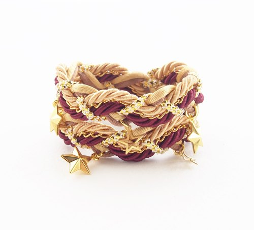 ♥ ELBRAZA ♥ Gold and deep red double stand bracelet.