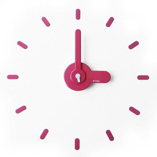 【On-Time Wall Clock】墙上贴・时计 [Pink]