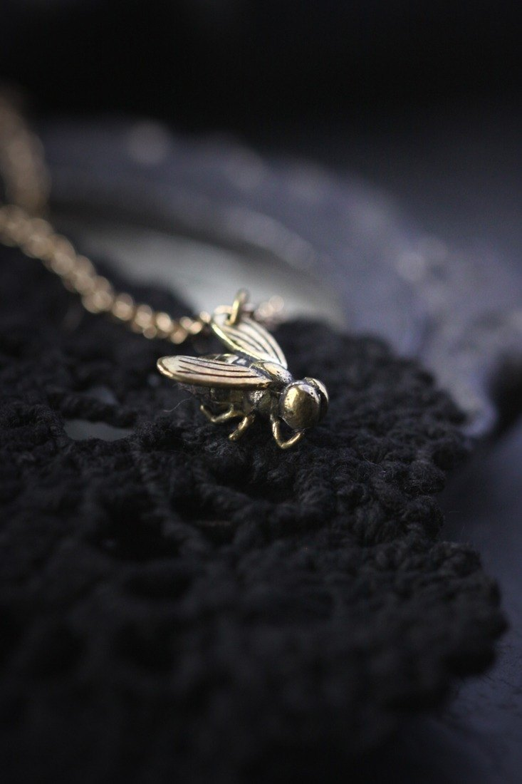 Fly Charm Necklace by Defy - Cool Pendant Jewelry Accessories - Metal Work