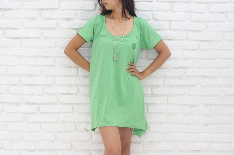 Seashell A-line stretch T-shirt <Green>