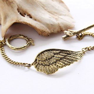 Golden Bird Wing Bracelet - Steampunk Metalwork Cuff Brass