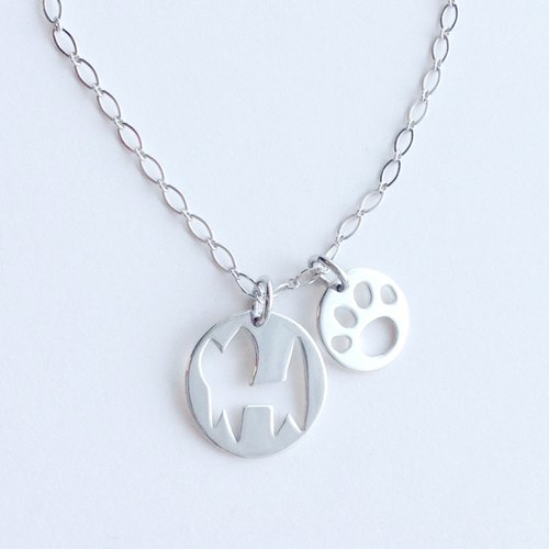 [Order production] necklace (3-way) / 950 silver cat & paws design plate: with adjuster Chain