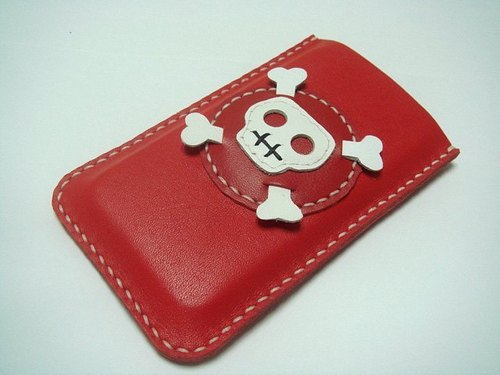 {Leatherprince 手工皮革} 台湾MIT 红色 骷髅头  iPhone 纯手工牛皮保护套 / Ashbren the Skull iPhone Leather Case ( Red / White )