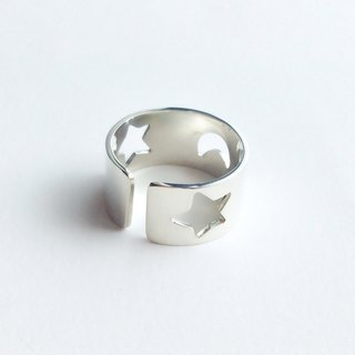 [Order production] ring / 950 silver Star & Moon Design