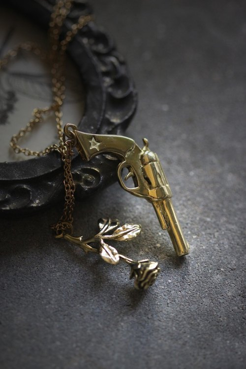 Gun and Rose Charm Necklace by Defy - Cool Statement Pendant Jewelry - Acccessories
