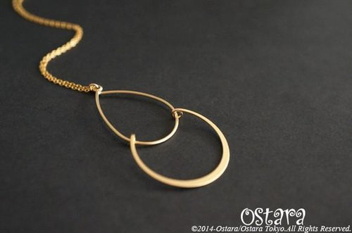 【14KGF】Long Necklace,Mat Gold Double Teardrop