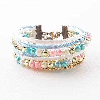Wrap bracelet - pastel bracelet - multistand bracelet - kawaii cute lolita - sweet accessories - cute bracelet - pink - white - light blue.