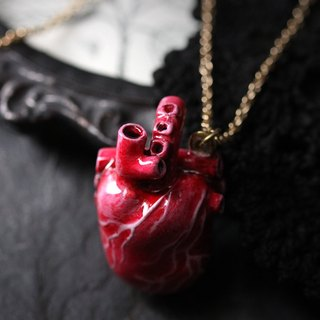 Anatomical Heart Necklace by Defy - Handcrafted Painting Jewelry - Original Design - Handmade Charm Pendant