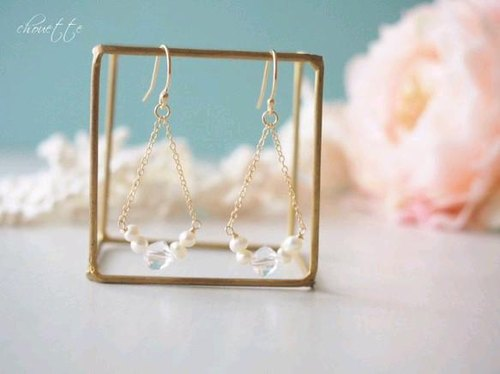 [14kgf] Crystal Pearl Earrings