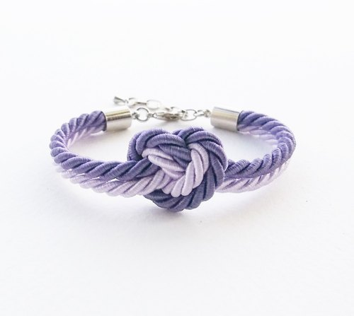 Purple / Lilac heart knot bracelet