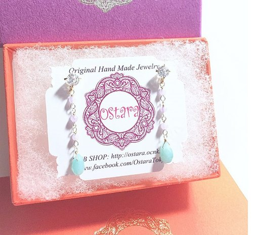 [] 16KGP CZ, Gemstone Dangle Stud Earrings, AAA Teardrop Amazonite, Light Purple Jade