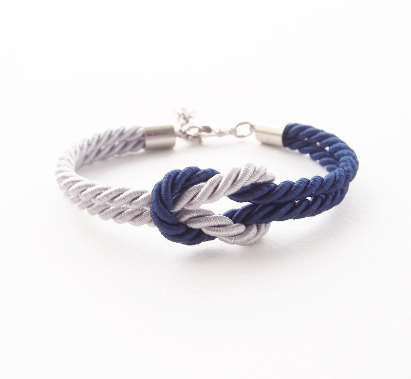 Navy blue and light gray nautical bracelet.