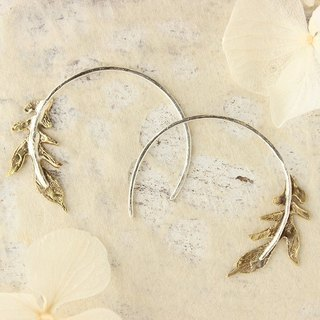 silver & brass leaves wheel earrings