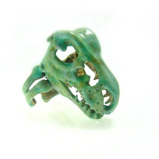 T-rex skull Ring in brass with green patina  color ,Rocker jewelry ,Skull jewelry,Biker jewelry