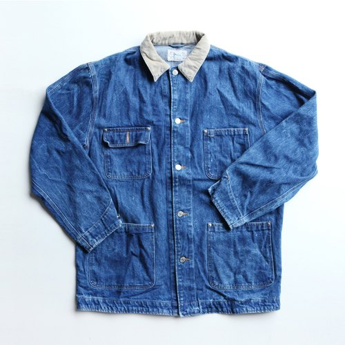 A ROOM MODEL - VINTAGE,CJ-2462 POLO RALPH LAUREN浅咖啡领蓝色denim work coat