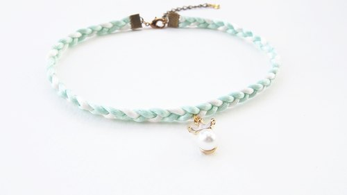 Mint white braided choker / necklace with crown-pearl charm.