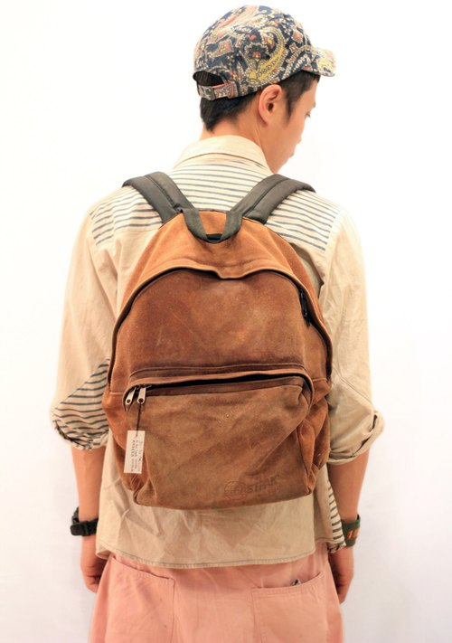 EARTH.er  :: Vintage系列 :: │90's 年代绝版美国制造EASTPAK全真皮背包 ● EASTPAK 90's Made in USA full real Suede Backpack│