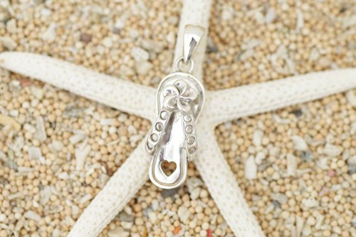 Silver Pendant of beach sandals