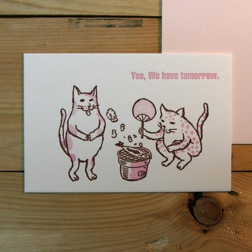 Letterpress greeting card cat in charcoal stove (pink) 2 pieces set
