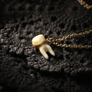 A Tooth (two fangs) Charm Necklace - Painted Version by Defy / Cool Handcrafted Jewelry