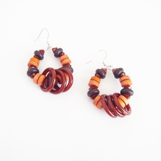 Wood earrings with brown hoops - Nickel Free.