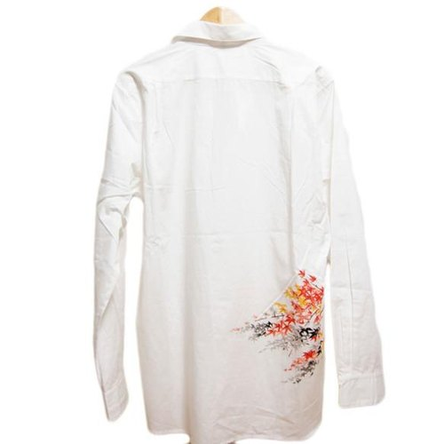 <Lサイズ> The Nagoya dyed oversize shirt by Japanese traditional craft artisans Yuzen stencil dyeing cherry by Tsumugirabo