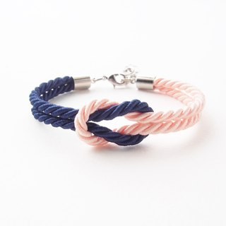 Navy blue and Peach knot rope bracelet