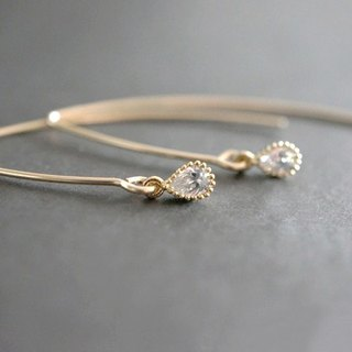 【14 KGF】 Simple Earrings, CZ Tiny Teardrop