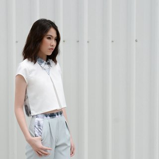 "白色三角扎染立领上衣(White Triangle Crop)(size S 32"")"