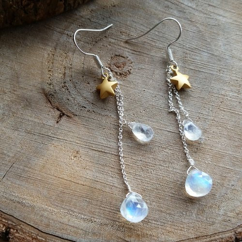 925 silver earring with moonstone and star l强蓝光玻璃体月光石/月亮石星星  925纯银长耳环