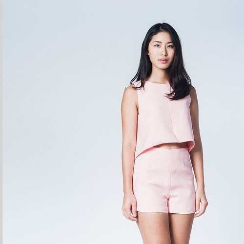 SPLIT UP CROP TOP-TEA ROSE