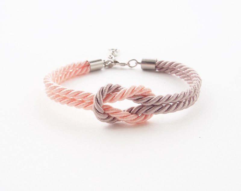 Peach and Light brown tie the knot rope bracelet
