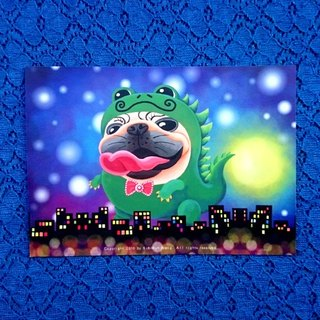 Monster Pugzilla Night 巴哥明信片