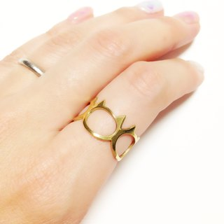 Ring: Gold color cat face design / US size 5-10 <unisex>