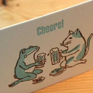 drinking beer ---Letterpress card