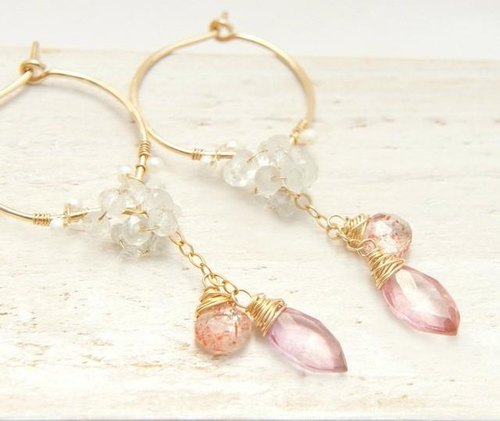 Sunstone and pink quartz of hoop earrings 14kgf