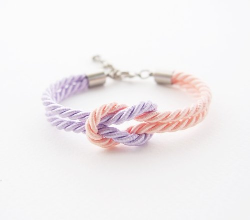 Tie the knot bracelet - nautical bracelet - bridesmaid gift - lilac - blush.