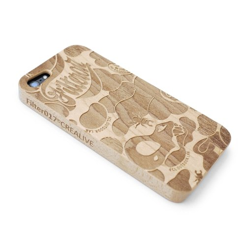 Filter017 手机壳 (iPHONE5 / 5S适用) - LAND OF LOST CAMOUFLAGE WOOD ENGRAVED iPHONE5 CASE (木制雕刻 iPHONE5保护壳)