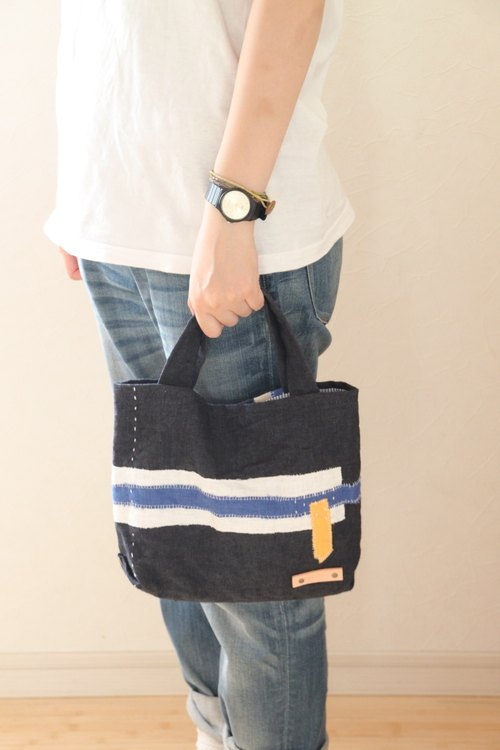 Collage tote bag mini dark blue